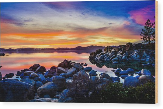 Diver's Cove Lake Tahoe Sunset Wood Print