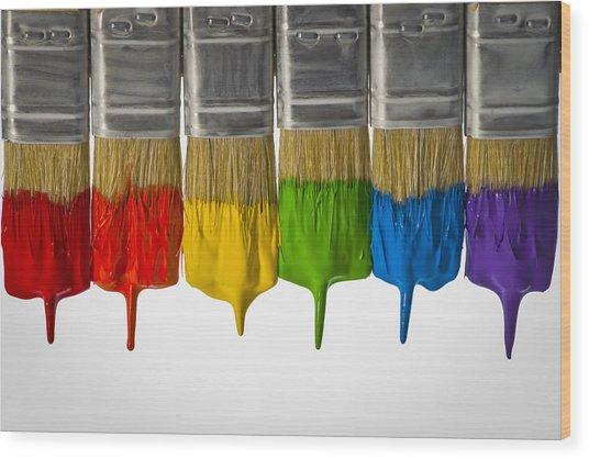 Diversity Paint Brushes Horizontal  Wood Print