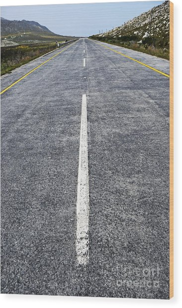 Dividing Line On A Highway Road Wood Print by Sami Sarkis
