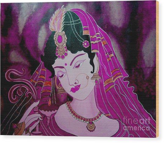 Diya Girl Wood Print by Priyanka Rastogi