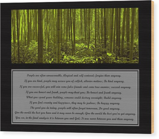 Do It Anyway Bamboo Forest Wood Print