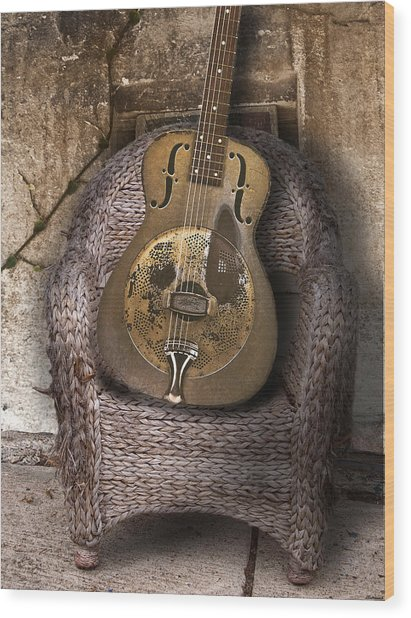 Dobro Guitar Wood Print by Larry Butterworth