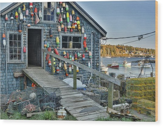 Dock House In Maine Wood Print