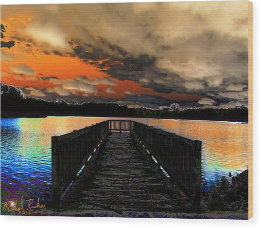 Dock In The Park Wood Print by Michael Rucker