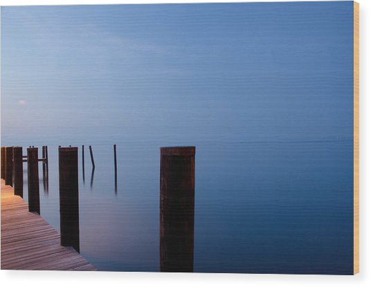 Dock Of The Morning Wood Print