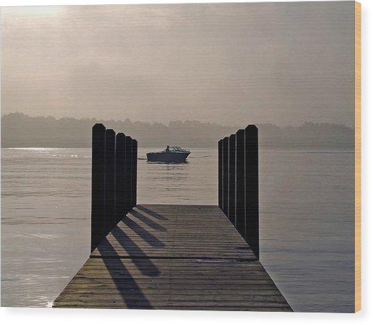 Dock Shadows Wood Print