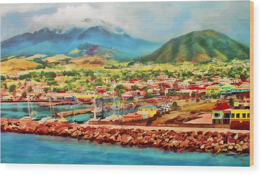 Wood Print featuring the mixed media Docked In St. Kitts by Deborah Boyd