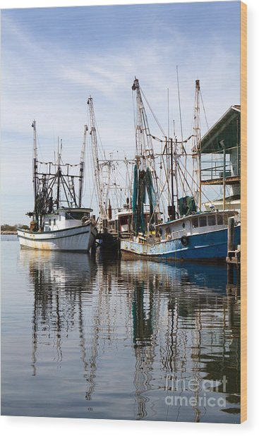 Docked Shrimp Boats Wood Print