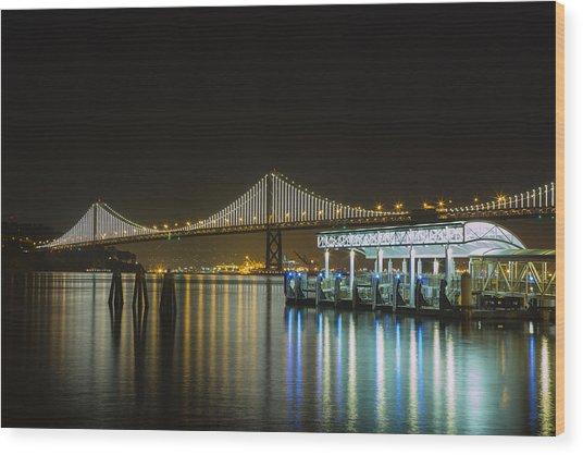 Docks And Bay Lights Wood Print