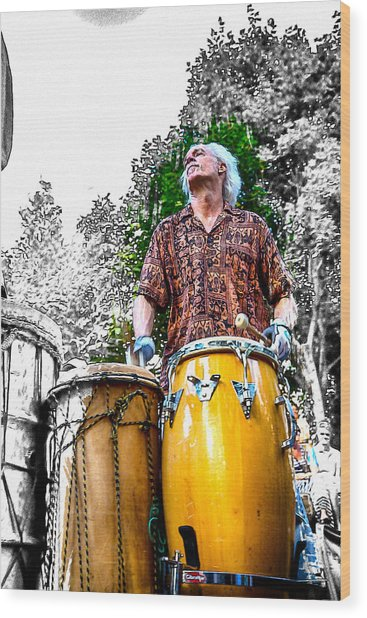 Doctor Drum Wood Print by John Haldane