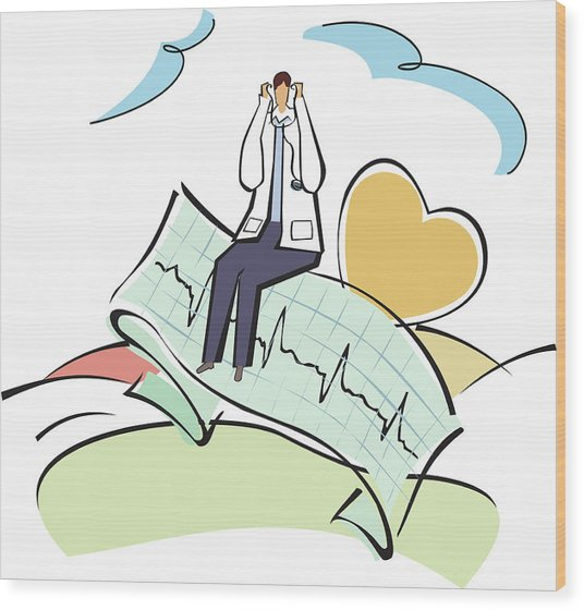 Doctor Sitting On An Ecg Report Wood Print by Fanatic Studio / Science Photo Library