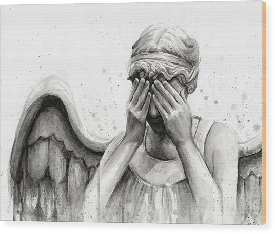 Doctor Who Weeping Angel Don't Blink Wood Print