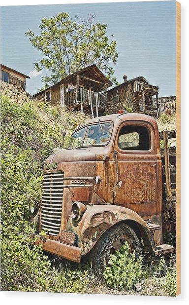 Dodge At The Mining Camp Wood Print