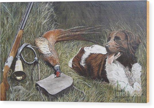 Dog And Pheasant Wood Print by Zeljko Djokic