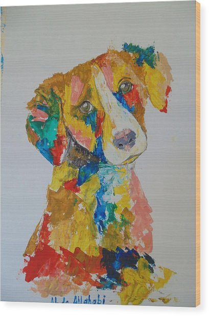 Dog Beautiful Color Wood Print by Abdo Allahabi