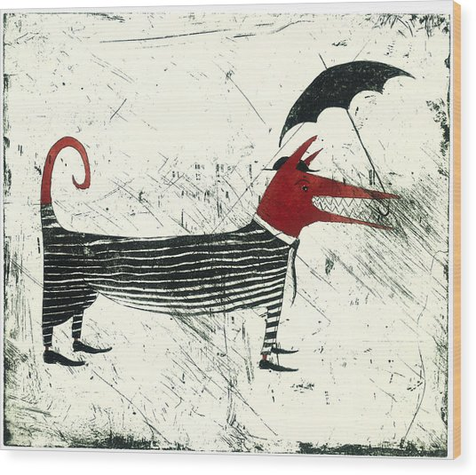 Dog Person With Umbrella Wood Print by Tim Southall