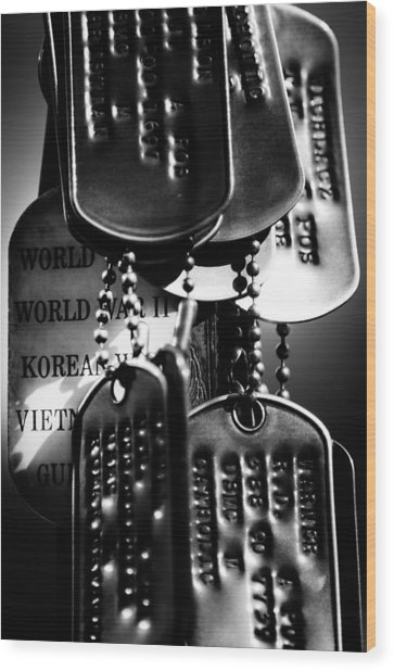 Dog Tags From War Wood Print