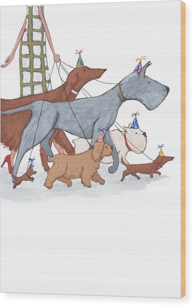 Dog Walker Wood Print