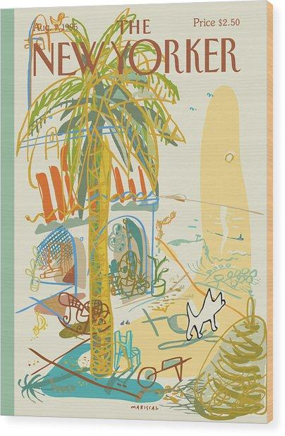 Dog Walking Under A Palm Tree Wood Print