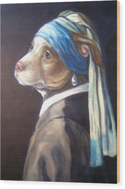 Dog With Pearl Earring Wood Print