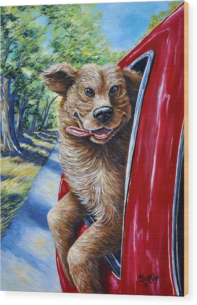 Dog...gone Happy Wood Print