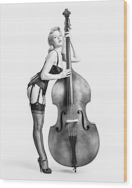 Doghouse With Mosh - String Bass Baby   Wood Print