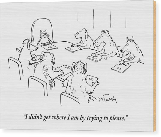 Dogs At A Meeting Wood Print