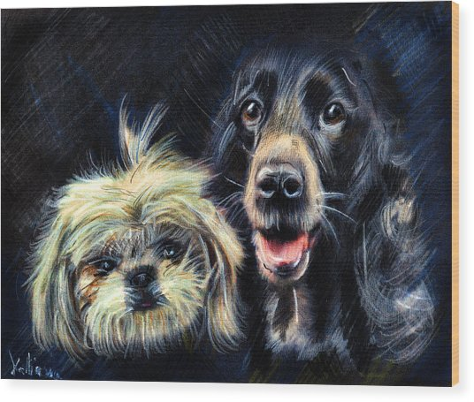 Dogs - Pencil Drawing Wood Print