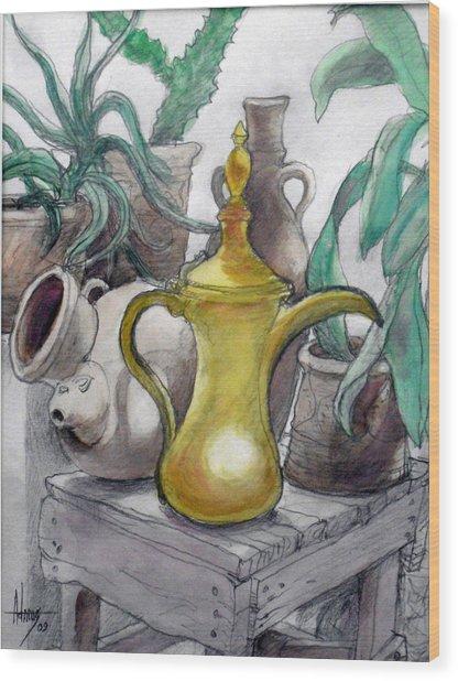 Doha Coffee Urn Wood Print by Jack Adams