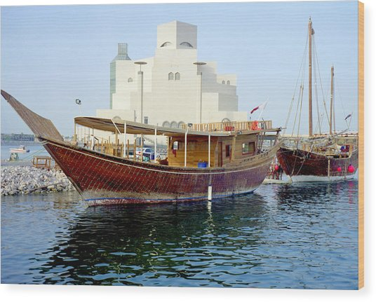 Doha Dhows And Islamic Art Museum Wood Print