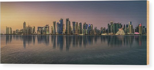 Doha Reflections Wood Print by Antoni Figueras