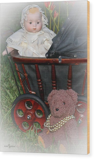 Doll And Teddy Wood Print