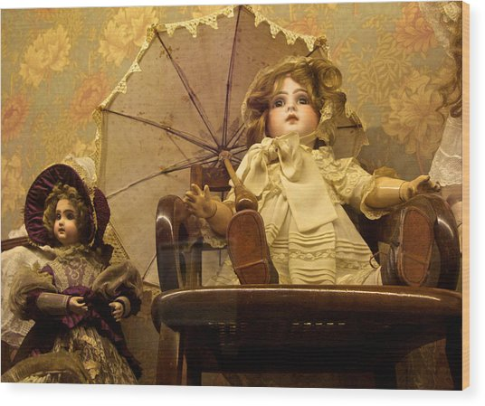 Antique Doll In Chair With Parasol Wood Print