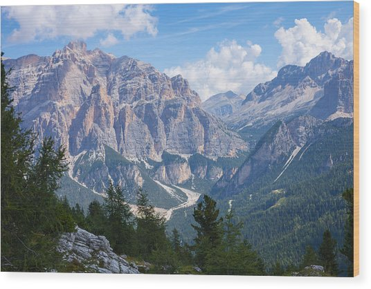 Dolomite Mountain View Wood Print