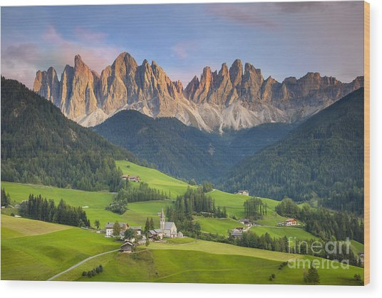 Dolomites From Val Di Funes Wood Print
