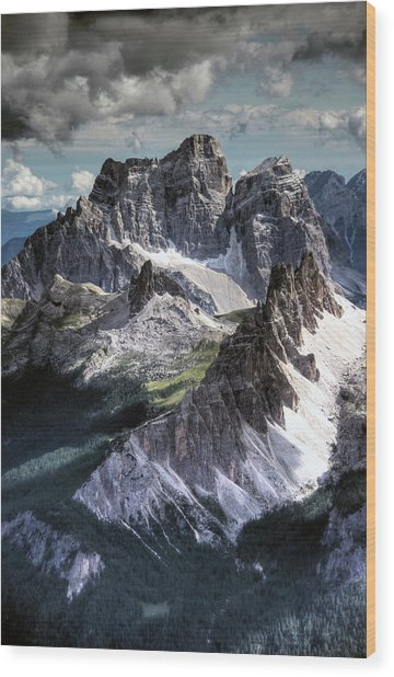 Dolomites Peaks View From Lagazuoi Wood Print by Mariusz Kluzniak