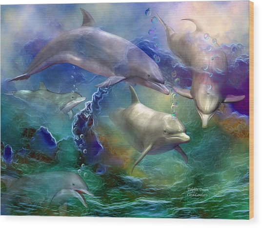 Wood Print featuring the mixed media Dolphin Dream by Carol Cavalaris