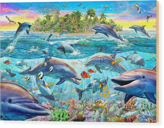Dolphin Reef Wood Print