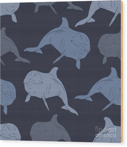 Dolphin Seamless Vector Pattern Wood Print