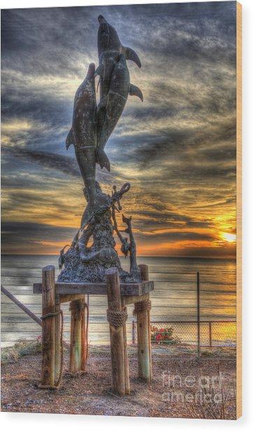 Dolphin Sunset Wood Print