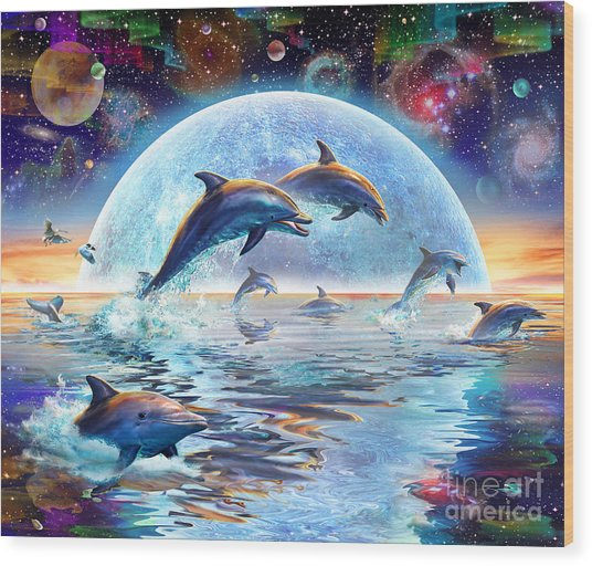 Dolphins By Moonlight Wood Print