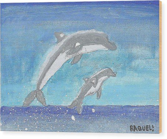 Dolphins Jumping Wood Print by Fred Hanna
