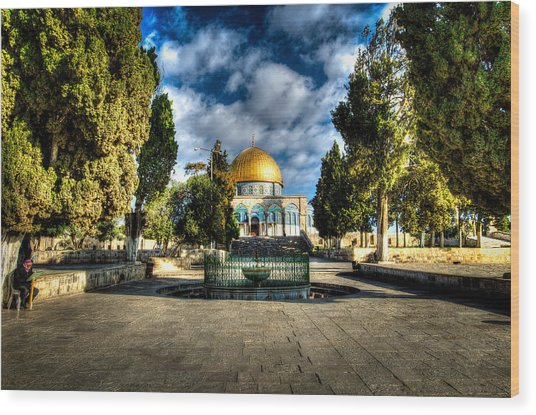 Dome Of The Rock Hdr Wood Print