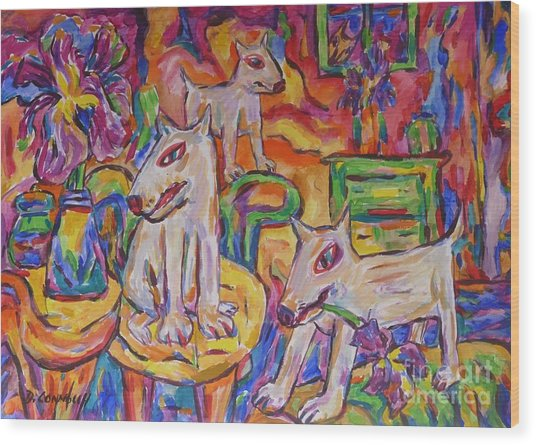 Domesticated Wolves In Dutch Iris Room Wood Print