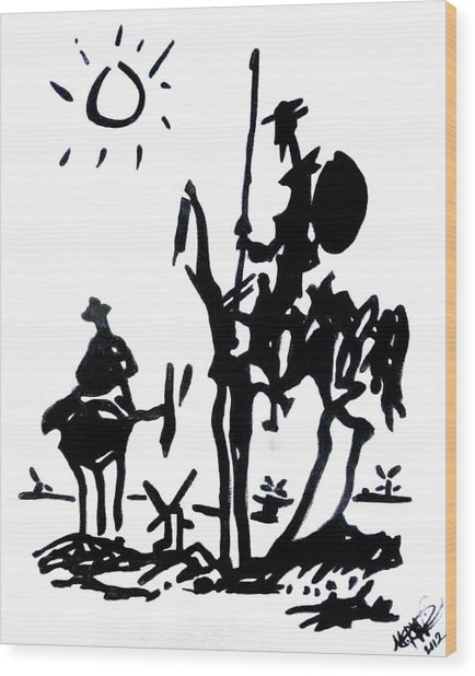Wood Print featuring the painting Don Quixote by Michelle Dallocchio