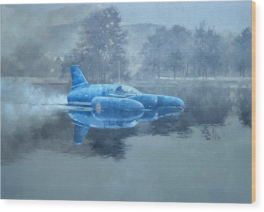 Donald Campbell And Bluebird Oil On Canvas Wood Print