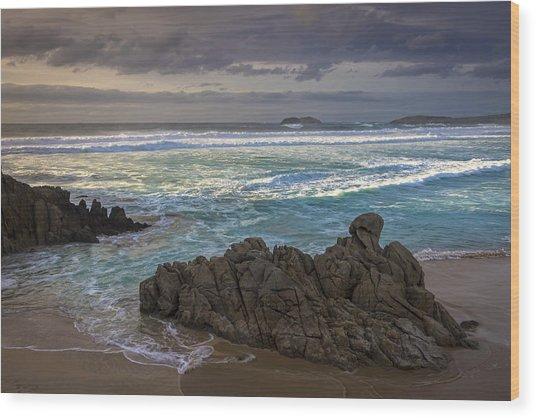 Doninos Beach Ferrol Galicia Spain Wood Print