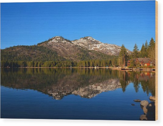Donner Lake Cabin Reflection Wood Print