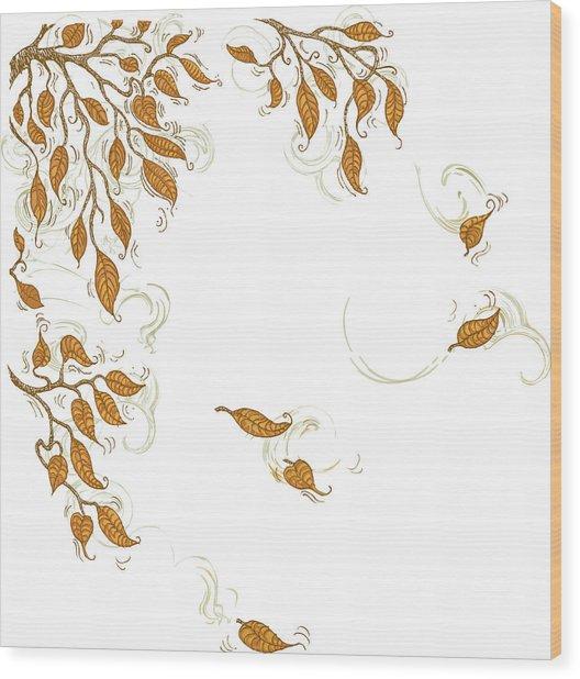 Doodle Autumn Leaves Corner Element Wood Print by Dddb