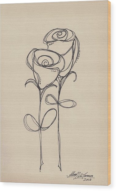 Doodle Roses Wood Print
